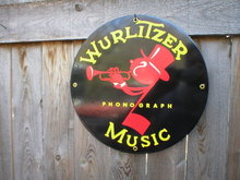 WURLITZER PORCELAIN COATED SIGN
