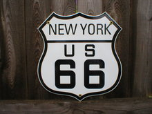 ROUTE 66 NEW YORK PORCELAIN COATED SHIELD SIGN