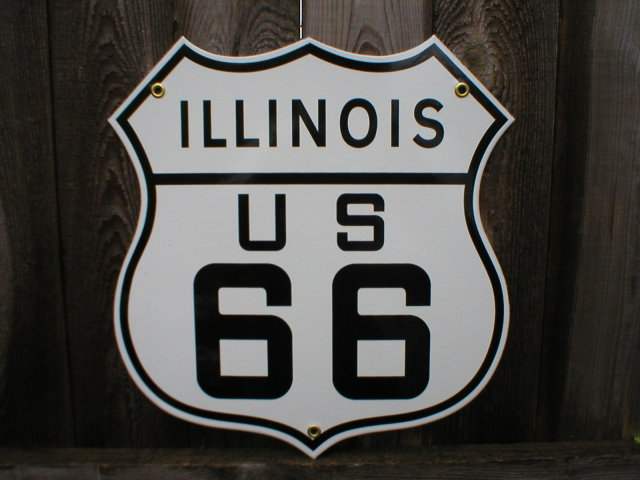 ROUTE 66 ILLINOIS PORCELAIN COATED SHIELD SIGN