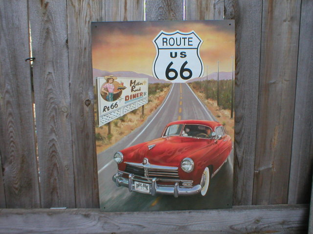 ROUTE 66 HUDSON RETRO TIN SIGN