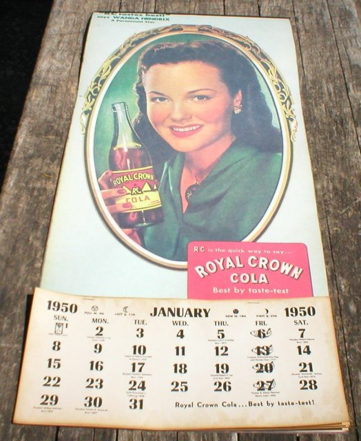 ROYAL CROWN COLA 1950 CALENDAR R