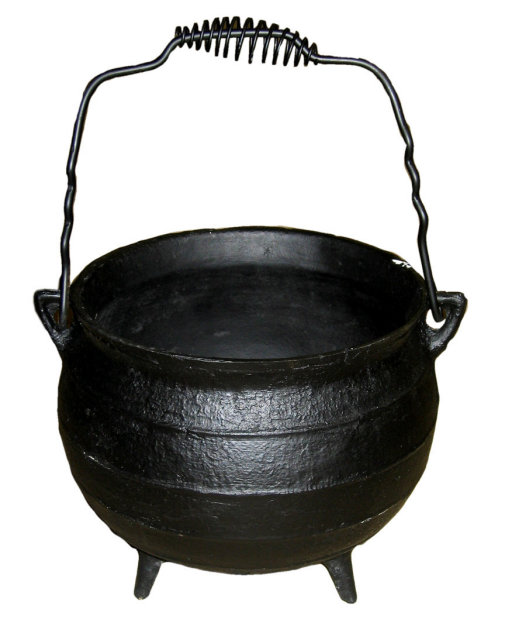 CAST IRON BLACK CALDRON HOME DECK DECOR C