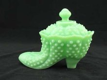 JADITE JADEITE GLASS HOBNAIL SHOE DISH WITH LID