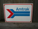 AMTRAK PORCELAIN-COATED RAILROAD SIGN A