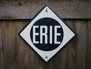 ERIE PORCELAIN-COATED RAILROAD SIGN