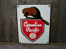 CANADIAN PACIFIC PORCELAIN-COATED RAILROAD SIGN C