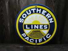 SOUTHERN PACIFIC LINES PORCELAIN COATED SIGN