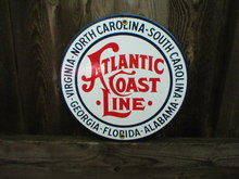ATLANTIC COAST LINE PORCELAIN-COATED RAILROAD SIGN A