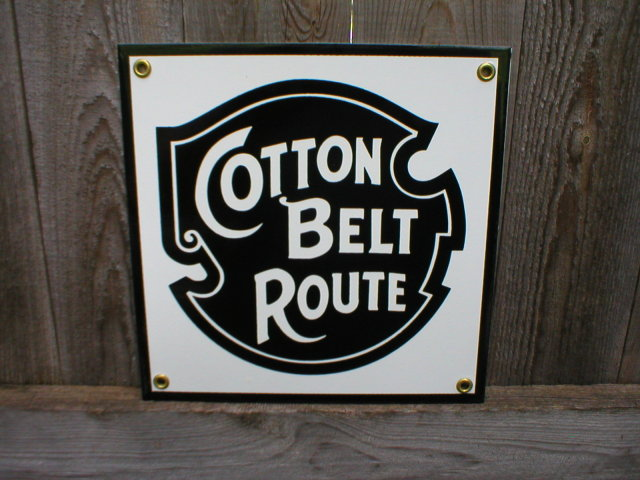 COTTON BELT ROUTE  PORCELAIN-COATED RAILROAD SIGN S