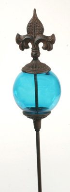 UNIQUE GARDEN STAKE WITH DECORATIVE BLUE GLASS BALL R