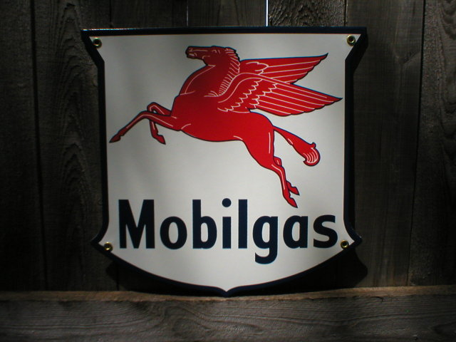 MOBILGAS SHIELD PORCELAIN COAT SIGN METAL ADV SIGNS