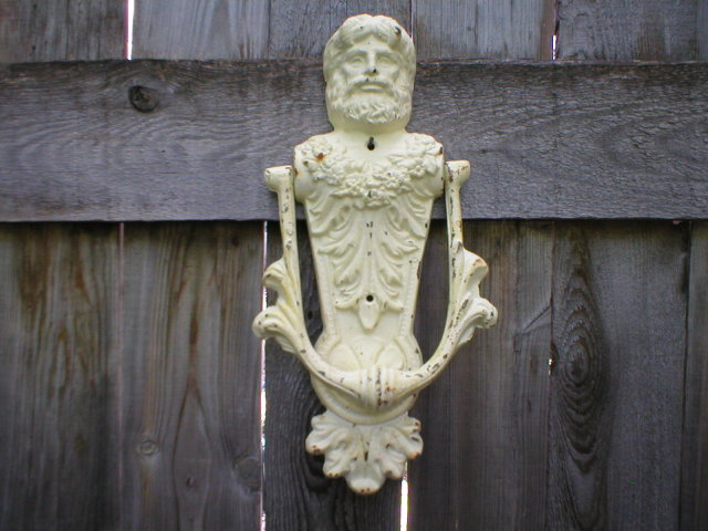 BACCHUS DOOR KNOCKER CAST IRON ANTIQUE WHITE