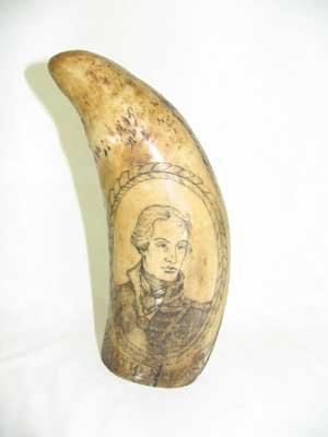 RESIN SCRIMSHAW TOOTH HORATIO NELSON HMS VICTORY