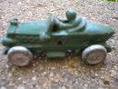 SMALL CAST IRON GREEN RACE CAR R