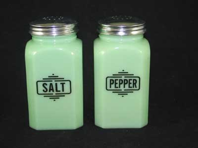 JADE JADITE JADEITE SQUARE SALT PEPPER SHAKERS