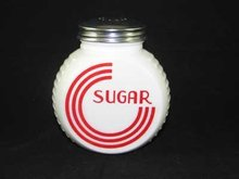 WHITE MILK GLASS ART DECO RANGE SUGAR