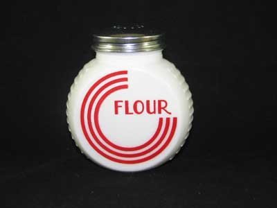 WHITE MILK GLASS ART DECO RANGE FLOUR SHAKER
