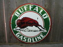 BUFFALO GASOLINE PORCELAIN COAT SIGN