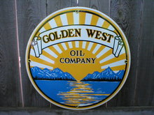 GOLDEN WEST OIL COMPANY PORCELAIN COAT SIGN