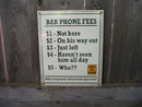BAR PHONE FEES PORCELAIN COAT SIGN HOME OFFICE WALL DECOR