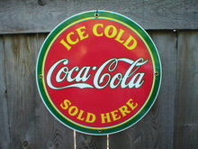 ICE COLD COCA-COLA  PORCELAIN COAT SIGN METAL ADV SIGNS M