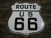 ROUTE US 66 PORCELAIN-COATED SHIELD SIGN O