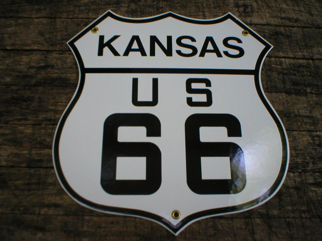 KANSAS US 66 PORCELAIN-COATED SHIELD SIGN K