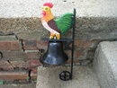 CAST IRON WALL MOUNTED COLORFUL ROOSTER BELL R