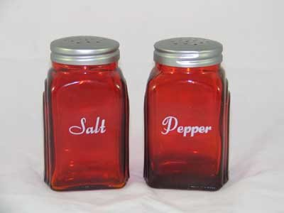 ONE SET RED ARCH SALT & PEPPER SHAKERS A