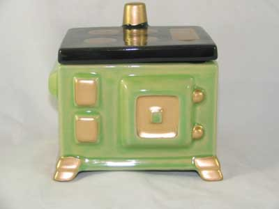 PORCELAIN GREEN STOVE GREASE JAR w/LID G