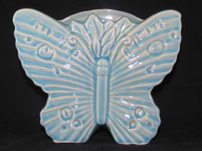BLUE PORCELAIN BUTTERFLY WALL POCKET B