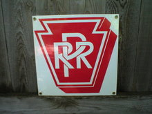 PRR PORCELAIN-COATED RAILROAD SIGN P