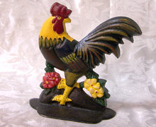 CAST IRON ROOSTER DOORSTOP STATUE IRONWARE DECOR R