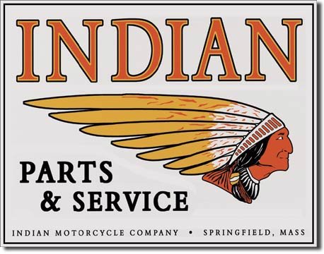 INDIAN PARTS & SERVICE TIN SIGN METAL MOTORCYCLE SIGNS