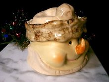 PORCELAIN SNOWMAN COOKIE JAR S