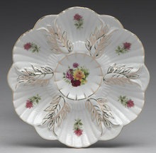 PORCELAIN OYSTER PLATE LIMOGES COLLECTOR GLASS L