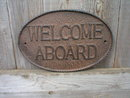 CAST IRON RUSTIC WELCOME ABOARD SIGN METAL SIGNS W