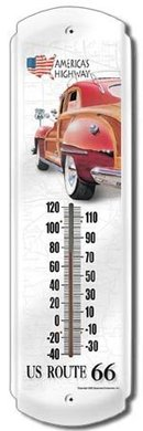 US ROUTE 66 THERMOMETER SIGN METAL ADV SIGNS H