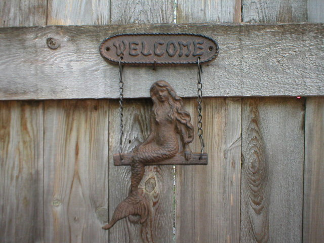 CAST IRON MERMAID WELCOME SIGN METAL SIGN DECOR M