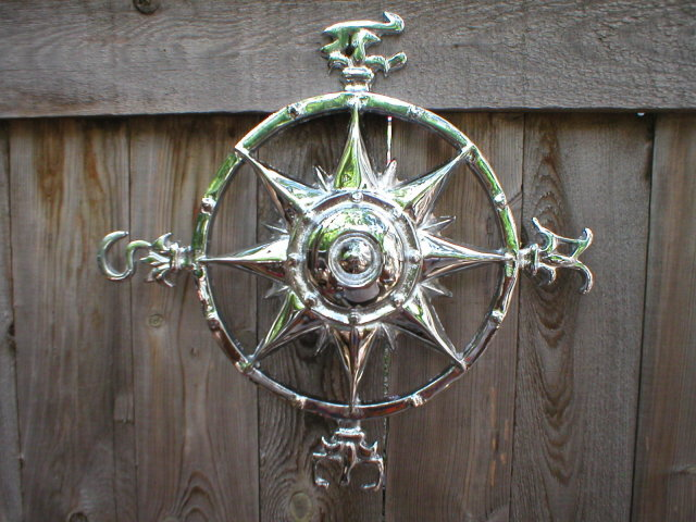 NICKEL PLATED NAUTICAL ROSE COMPASS WALL PLAQUE C