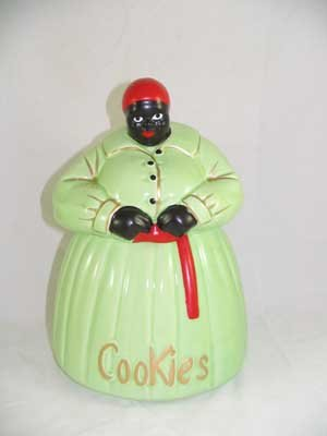 HAND PAINTED PASTEL GREEN MAMMY COOKIE JAR G