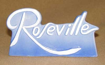 PORCELAIN BLUE ROSEVILLE STORE COLLECTOR DEALER SIGN LOGO