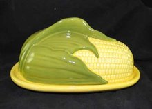 CORN KING TWO PIECE BUTTER DISH MARKED SHAWNEE