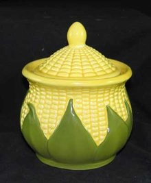 PORCELAIN CORN KING SUGAR DISH MARKED SHAWNEE