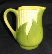 PORCELAIN CORN KING CREAM PITCHER MARKED SHAWNEE