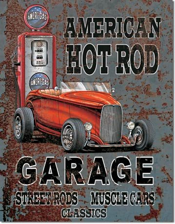 LEGENDS AMERICAN HOT ROD GARAGE TIN ADV RETRO SIGN