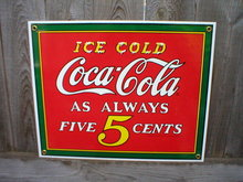 ICE COLD COCA-COLA PORCELAIN-COATED SIGN C