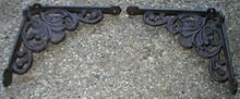 ONE ONE PAIR OF SHELL SHELF BRACKETS CAST IRON WALL DECOR