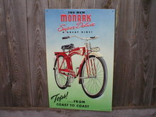 MONARK SUPER DELUXE BICYCLE TIN SIGN