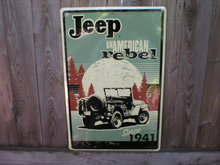 JEEP REBEL 1941 TIN SIGN METAL ADV SIGNS J